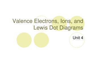 Valence Electrons, Ions, and Lewis Dot Diagrams