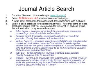 Journal Article Search