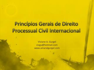 Princípios Gerais de Direito Processual Civil Internacional