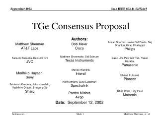 TGe Consensus Proposal