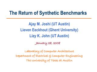 The Return of Synthetic Benchmarks