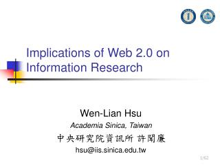 Implications of Web 2.0 on Information Research