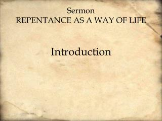 Sermon Repentance as a way of life