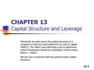 CHAPTER 13 Capital Structure and Leverage