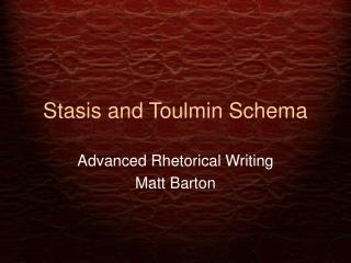 Stasis and Toulmin Schema
