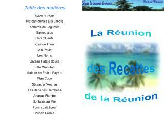La Réunion des Recettes de la Réunion