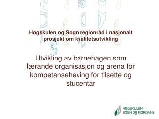H�gskulen og Sogn regionr�d i nasjonalt prosjekt om kvalitetsutvikling