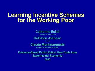 Learning Incentive Schemes for the Working Poor