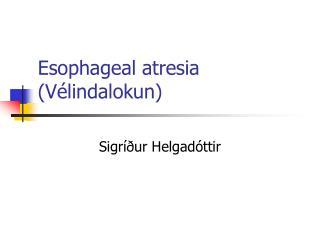 Esophageal atresia (V�lindalokun)