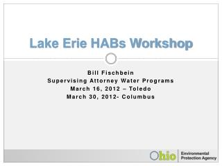 Lake Erie HABs Workshop