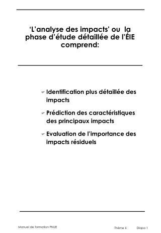 ' L 'analyse de s  impact s ' ou  la phase d'étude détaillée de l' É IE  comprend :