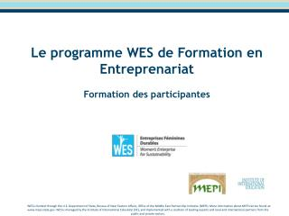 Le programme WES de Formation en Entreprenariat   Formation des participantes