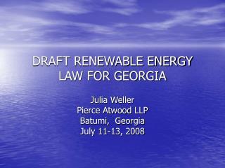 DRAFT RENEWABLE ENERGY LAW FOR GEORGIA