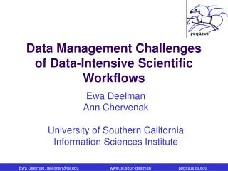 Data Management Challenges of Data-Intensive Scientific Workflows