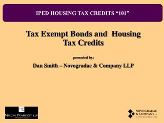 "IPED HOUSING TAX CREDITS ""101"""