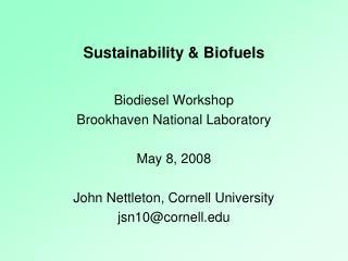 Sustainability & Biofuels