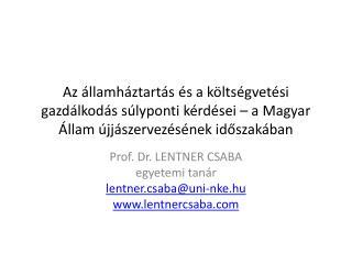 Prof. Dr. LENTNER CSABA  egyetemi tanár lentner.csaba @ uni-nke.hu lentnercsaba