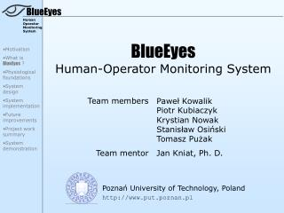 BlueEyes Human-Operator Monitoring System