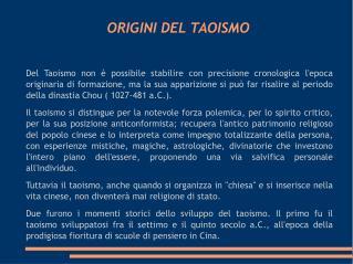 ORIGINI DEL TAOISMO