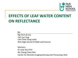 EFFECTS OF LEAF WATER CONTENT  ON REFLECTANCE