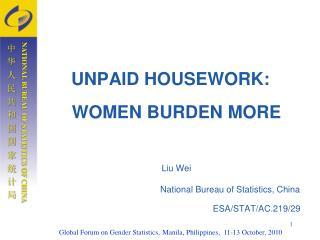 UNPAID HOUSEWORK: WOMEN BURDEN MORE Liu Wei