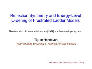 Reflection Symmetry and Energy-Level Ordering of Frustrated Ladder Models