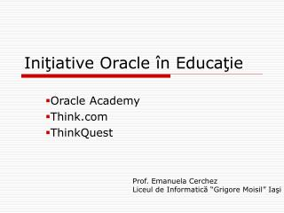 Ini?iative Oracle �n Educa?ie