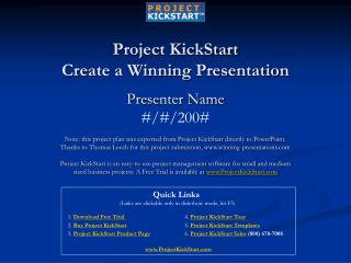 Project KickStart Create a Winning Presentation