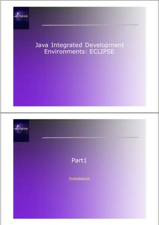 Java Integrated Development Environments: ECLIPSE