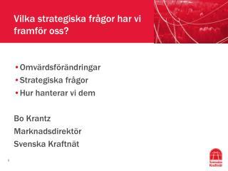 Vilka strategiska frågor har vi framför oss?