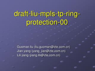 draft-liu-mpls-tp-ring-protection-00