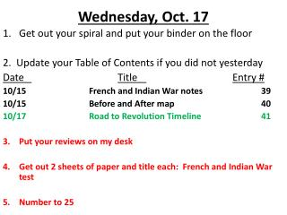 Wednesday, Oct. 17