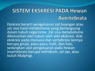 SISTEM EKSKRESI PADA Hewan Avertebrata