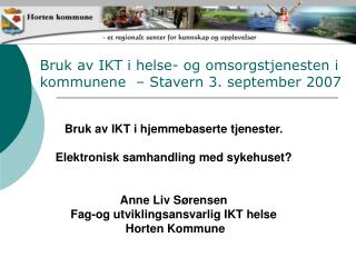Bruk av IKT i helse- og omsorgstjenesten i kommunene  – Stavern 3. september 2007
