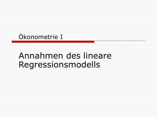 Ökonometrie I