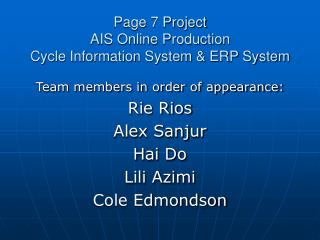 Page 7 Project AIS Online Production  Cycle Information System & ERP System