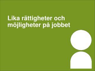Lika rättigheter och möjligheter på jobbet