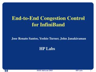 End-to-End Congestion Control for InfiniBand