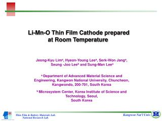 Li-Mn-O Thin Film Cathode prepared at Room Temperature