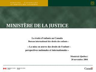 La traite d�enfants au Canada