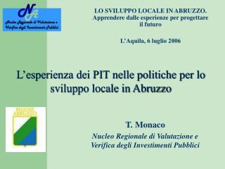 L'esperienza dei PIT nelle politiche per lo sviluppo locale in Abruzzo