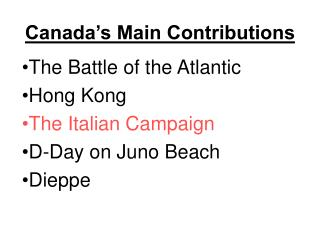 Canada's Main Contributions