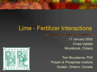 Lime - Fertilizer Interactions