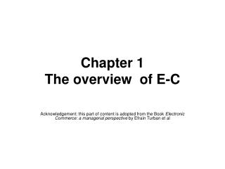 Chapter 1  The overview  of E-C