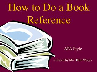 How to Do a Book Reference