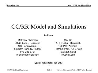 CC/RR Model and Simulations