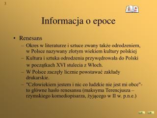 Informacja o epoce