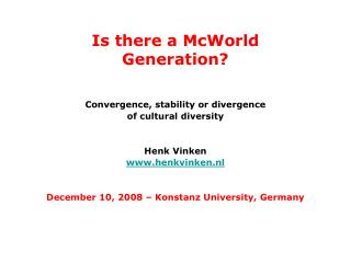 Is there a McWorld Generation?