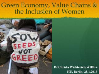 Green Economy, Value Chains & the Inclusion of Women