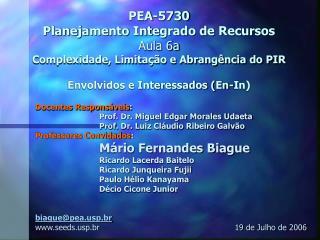 Docentes Responsáveis : Prof. Dr. Miguel Edgar Morales Udaeta